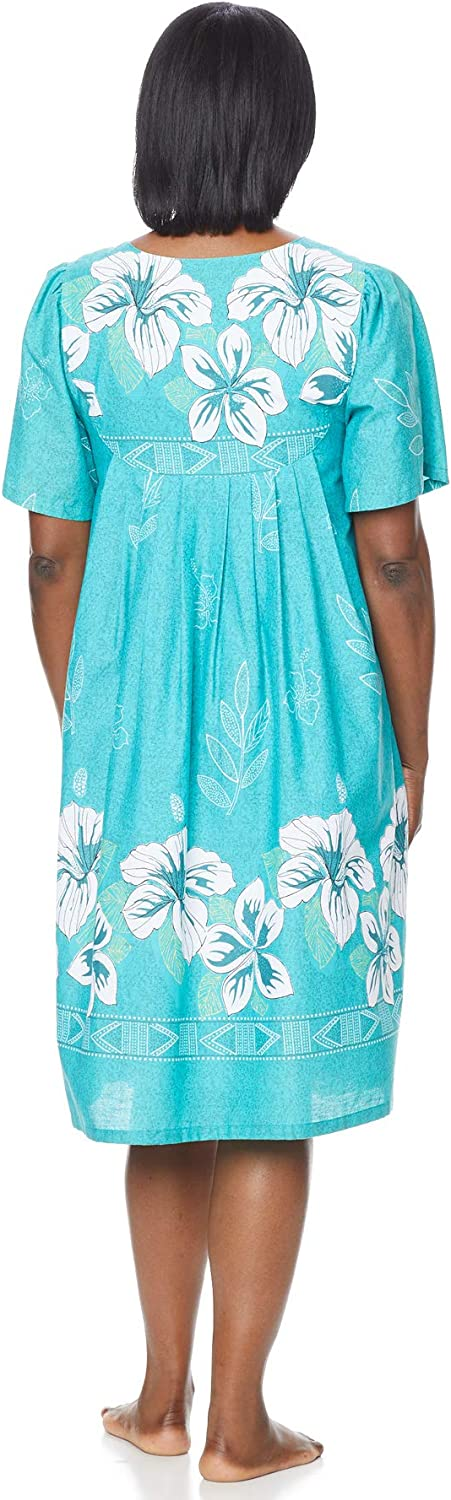 AmeriMark Womens Patio Dress Lounger Floral Print Border Short Sleeve and Pockets