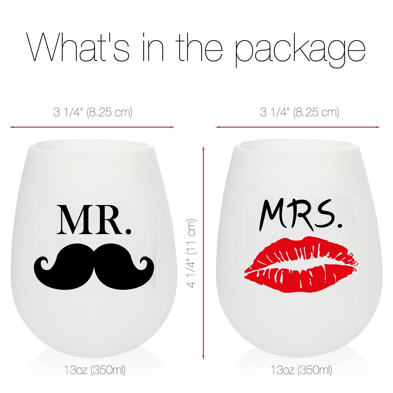 wineotime Sr. Y la Sra. Copas de vino de silicona 6 vasos de goma ...