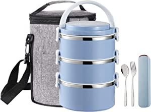 YBOBK HOME Stainless Steel Lunch Box Thermal Hot Leakproof Japanese Round Cylinder Triple Stackable Solid Bento Lunch Box with Insulated Bag and Portable Flatware Utensil Set for Adults (Blue)