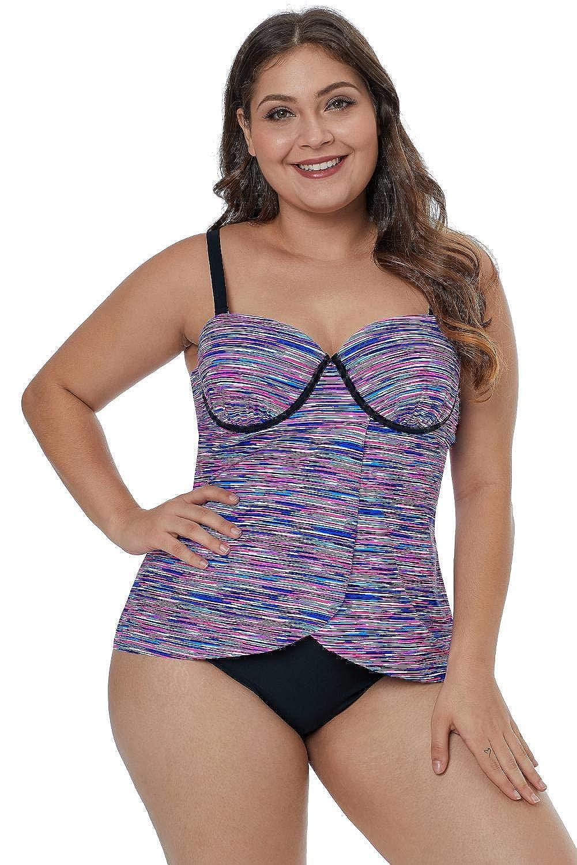 Boldgal Women's Beach Fuzzy Print Plus Size Swim Top