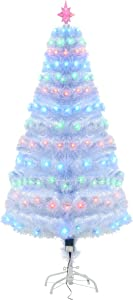 HOMCOM 5FT Tall Artificial Tree Multi-Colored Fiber Optic LED Pre-Lit Holiday Home Christmas Decoration, White