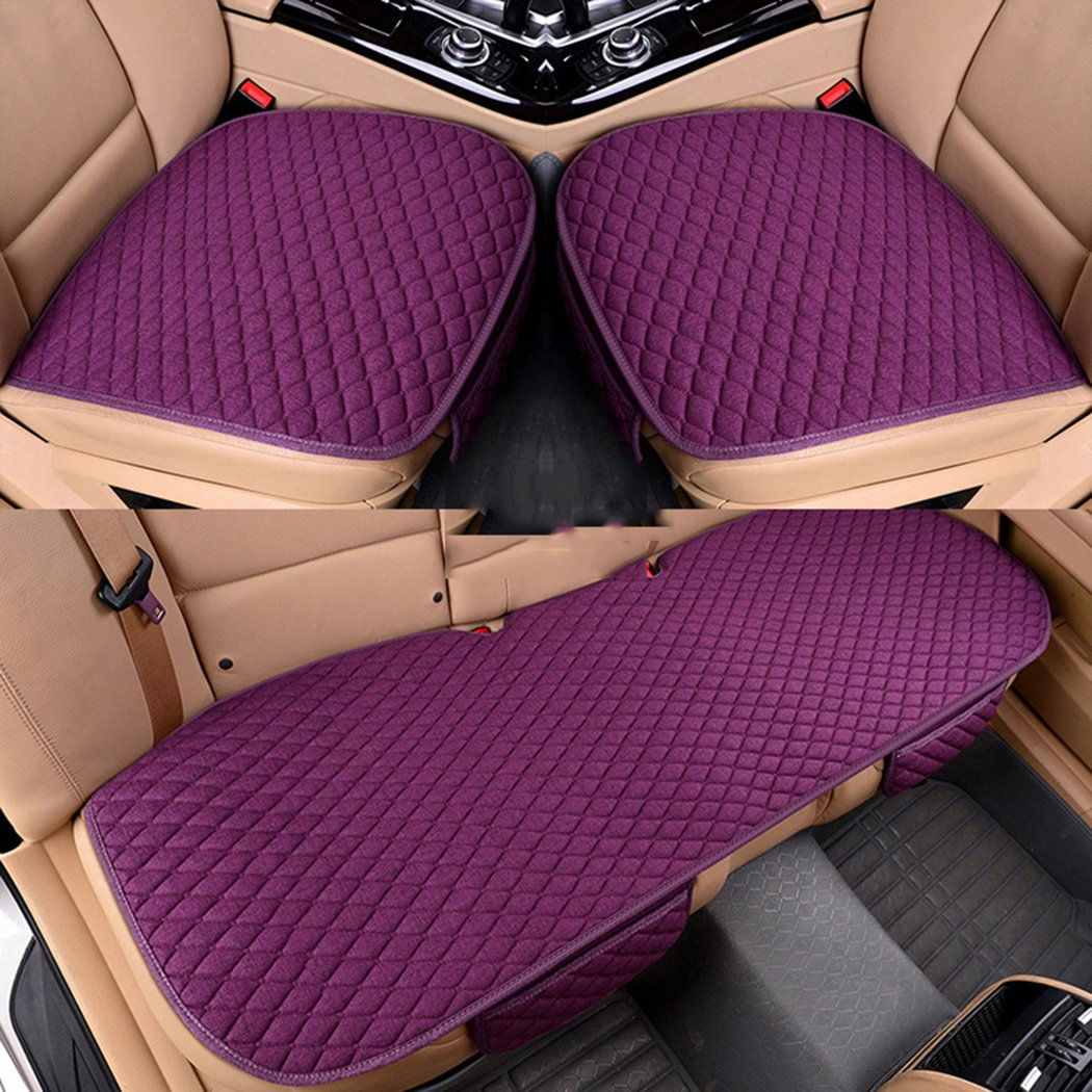 MLOVESIE Car Front Seat Cover with Organizer Pouch Breathable Linen Summer Chairs Mats Universal Fit for Auto Truck Suv Van Office