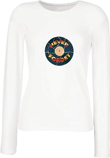 lepni.me Camisetas de Manga Larga para Mujer 60s 70s Música, Disco de gramófono, Nunca Olvides: Amazon.es: Ropa y accesorios