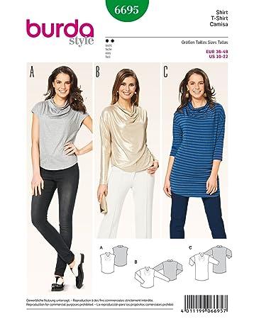 Burda 6695 Schnittmuster Shirt (Damen, Gr. 36 - 48) Level 2 leicht ...