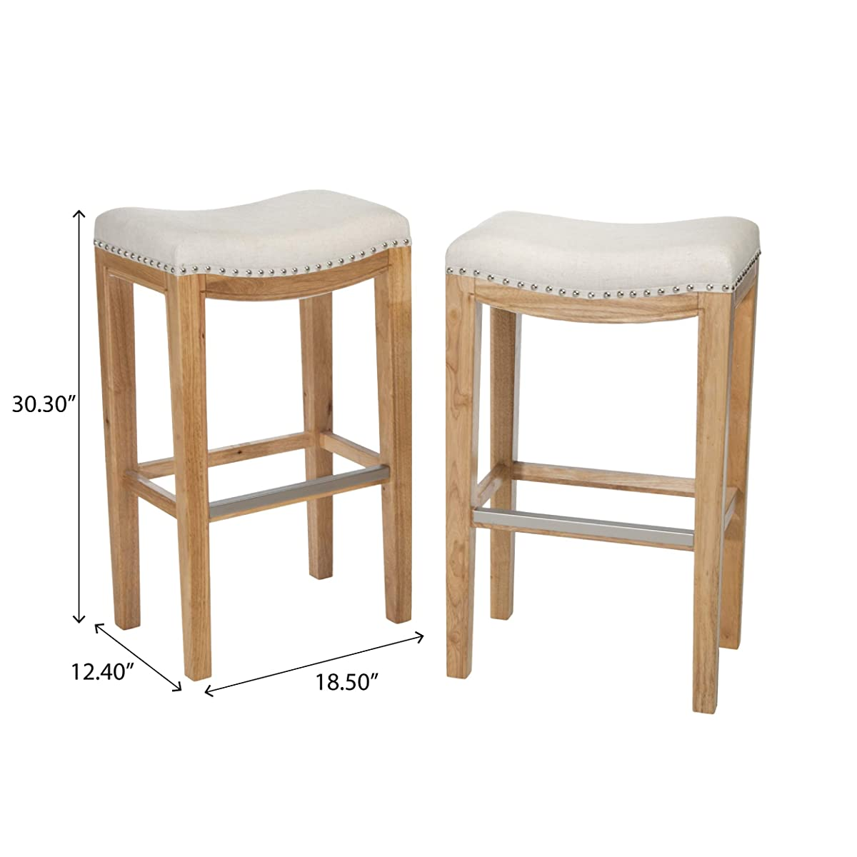 Great Deal Furniture Jaeden Beige Backless Bar Stools (Set of 2)