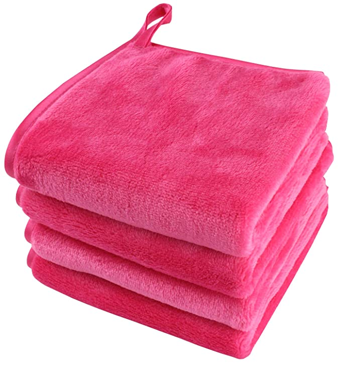 Toallita desmaquillantes reutilizable Toalla de microfibra para limpieza facial Paños de microfibra 25 x 25 cm Rosa 4 unidad: Amazon.es: Belleza
