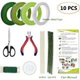 Floral Arrangement Kit,10 PCS Boutonniere Supplies Come with Green Floral Tape, Floral 26 & 22 Guage Stem Wire, Floral Wire Cutter, Shear for Men and Women Floral Design Lovers