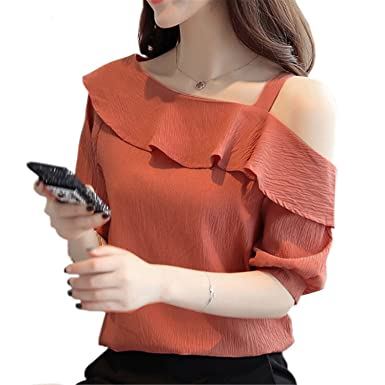 OUXIANGJU Summer Women Fashion Tops Elegant Chiffon One Shoulder Shirts Ruffles Skew Collar Blouses