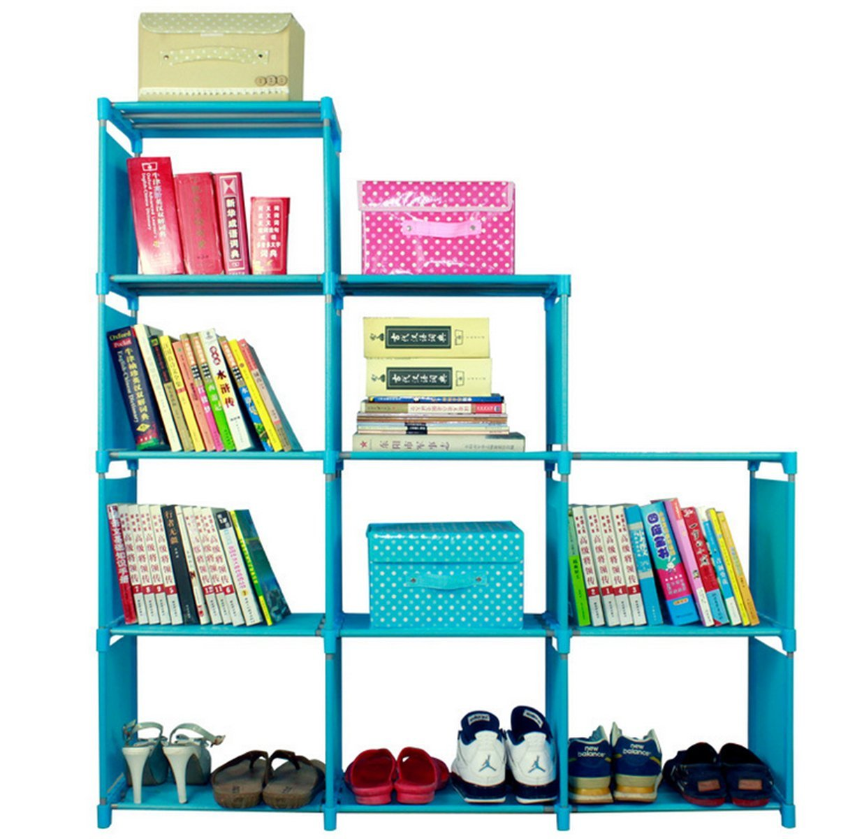 4-Tier DIY Storage Cube Closet Organizer Shelf, 9-cube Cabinet ...