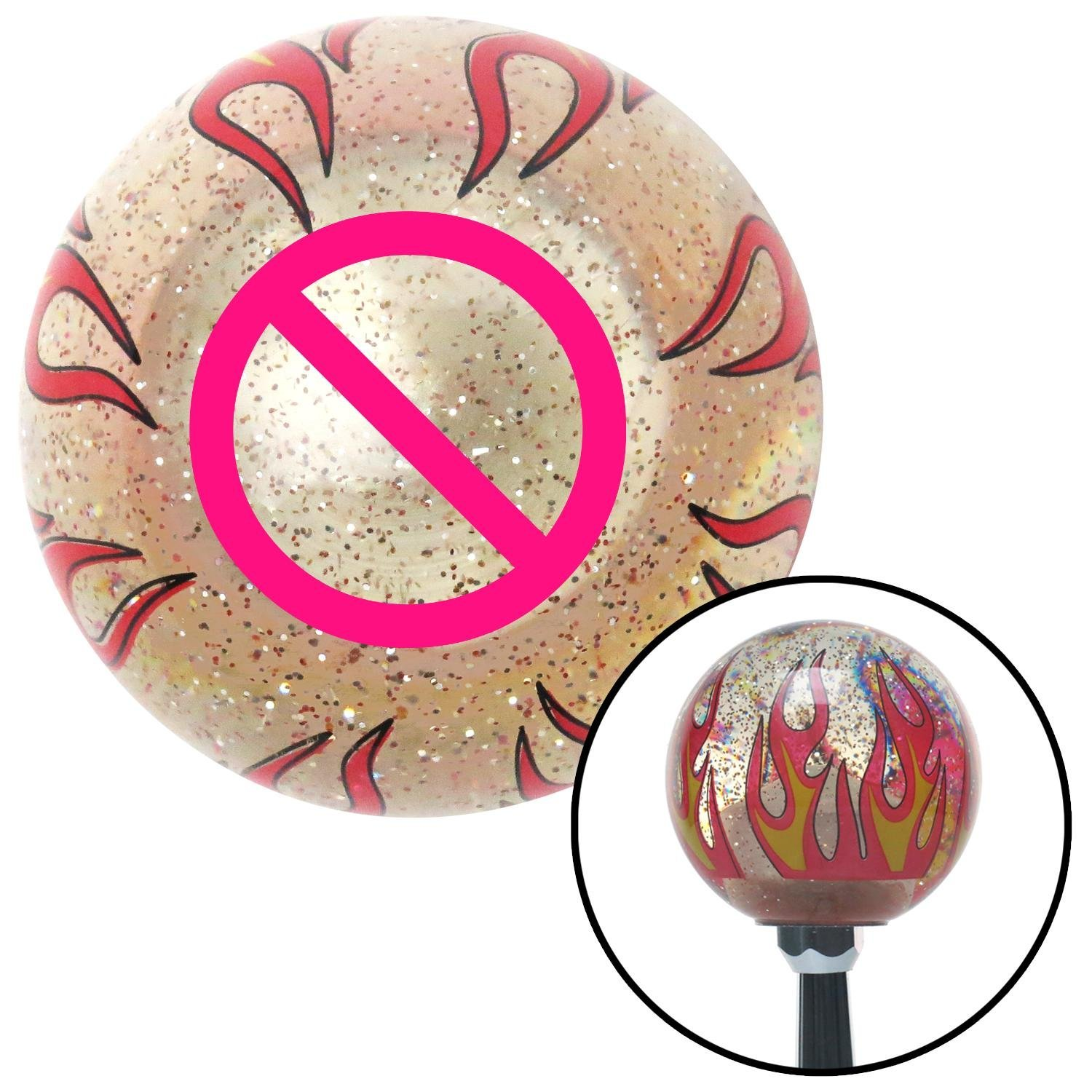 American Shifter 231517 Clear Flame Metal Flake Shift Knob with M16 x 1.5 Insert Pink NO Symbol