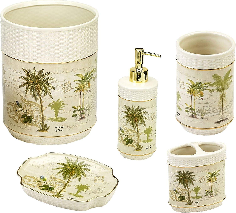 Avanti Linens Colony Palm 5 Piece Bath Accessory Set-Ivory Tumbler, Toothbrush Holder, Soap Dish, Loption Pump, Wastebasket