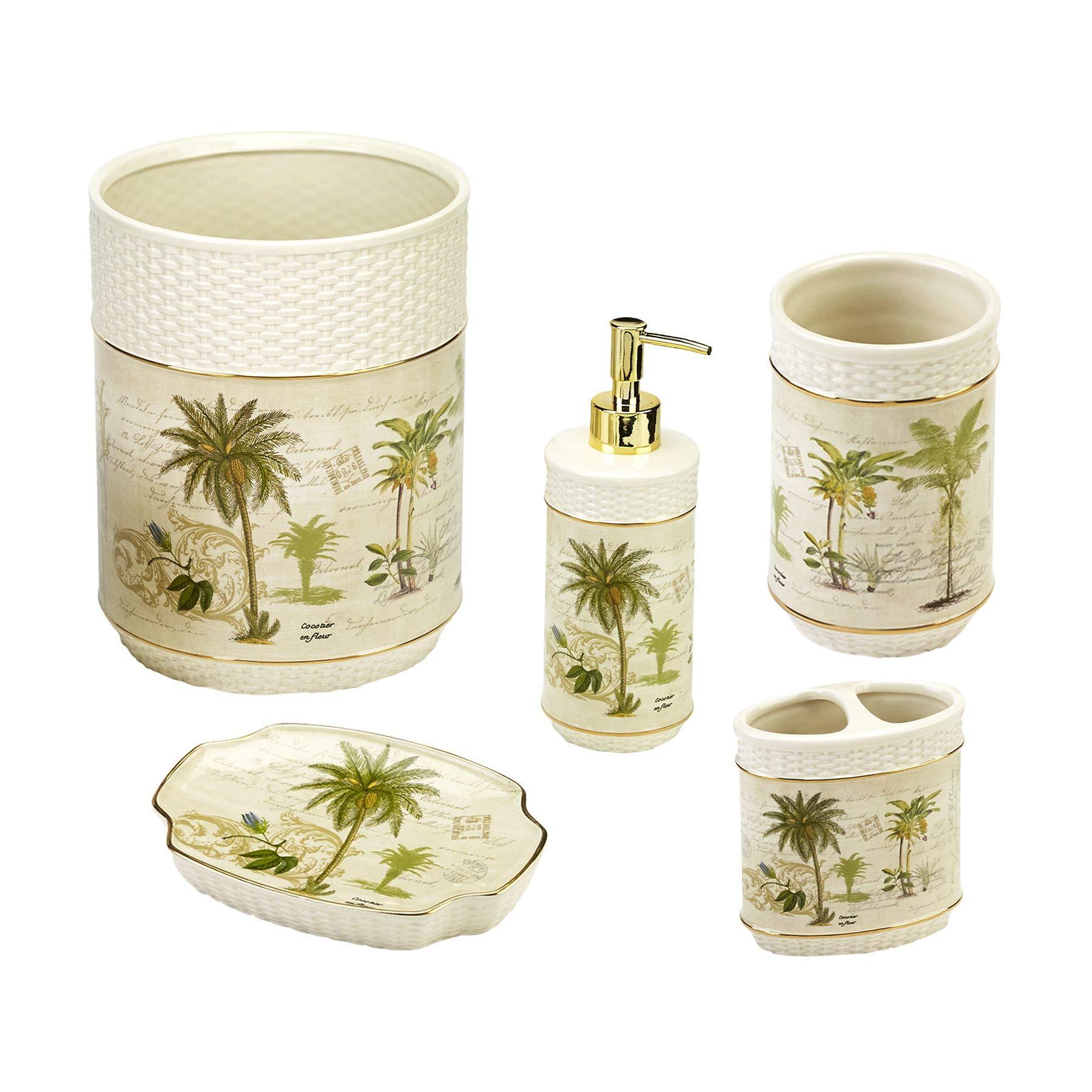 Avanti Linens Colony Palm 5 Piece Bath Accessory Set - Ivory Tumbler, Toothbrush Holder, Soap Dish, Loption Pump, Wastebasket,