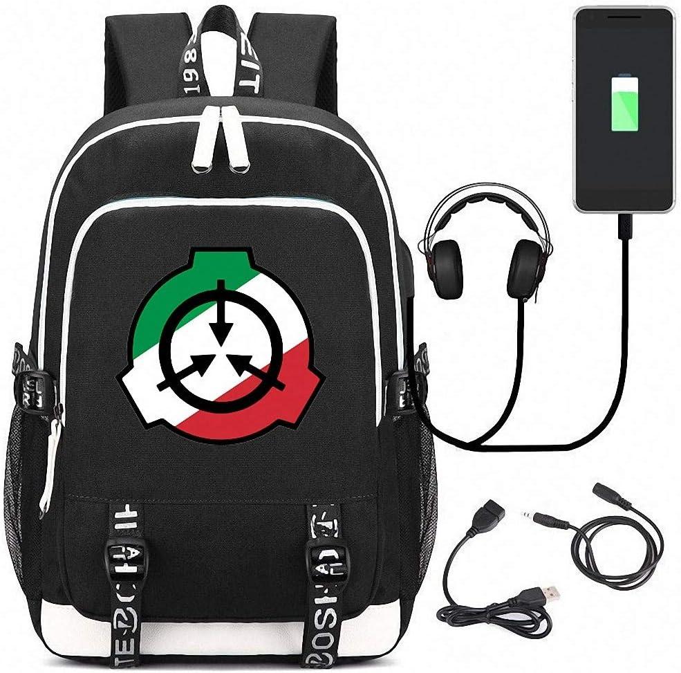 CBA BING Sac /à Dos SCP Foundation avec Port de Chargement USB et Port pour /écouteurs Bag Sac dordinateur Portable Mince et l/éger Sac /à Dos Scolaire r/ésistant /à leau pour Femmes Hommes