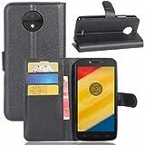 Cover Motorola Moto C Plus + Pellicola Protettiva, Nero Custodia di Cuoio, Slot per Scheda e Protettiva Flip Integrati Portafoglio con Magnetico Snap Case