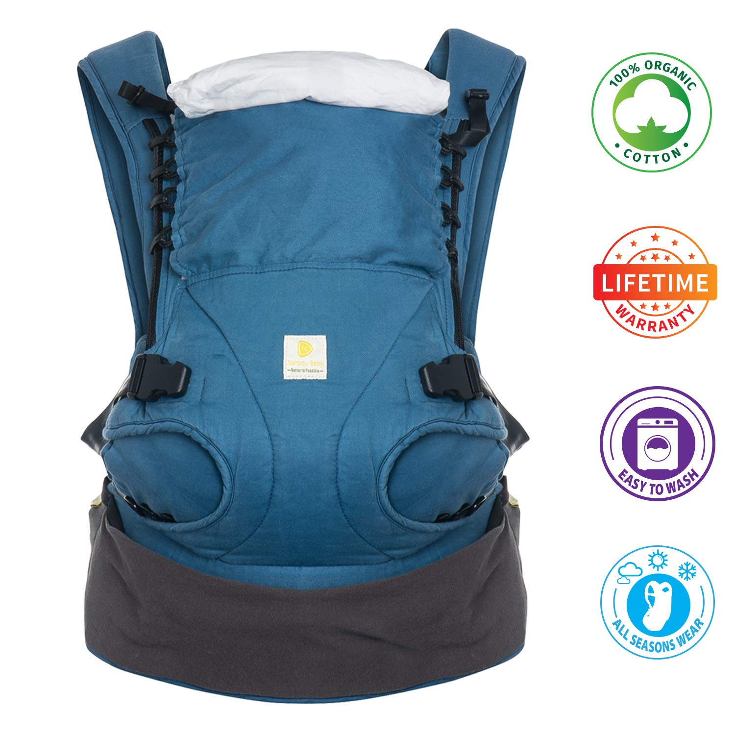 Nahbou 100 Organic Cotton Baby Carrier with Hip Seat – All Seasons, 360 Positions, Newborn Carrier to Toddler Up to 45 Lbs Free to Grow Baby Hip Seat Carrier Compact Ergonomic Breathable Backpack
