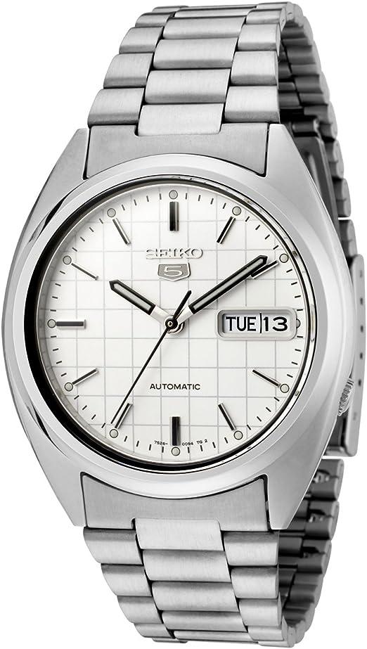 Amazon Com Seiko Men S Snxf05 Seiko 5 Automatic White Dial Stainless Steel Watch Seiko Watches