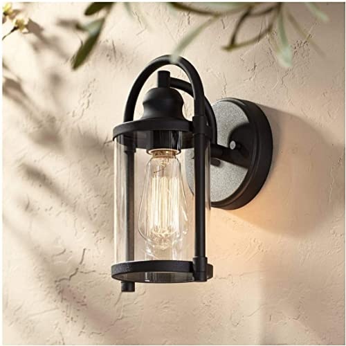 Avani Modern Outdoor Wall Light Fixture Black 10 1/4″ Cylindrical Gla