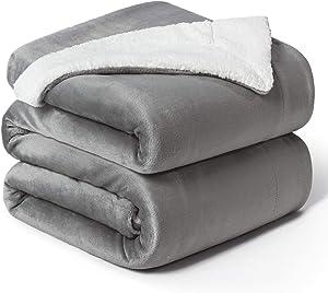 Bedsure Sherpa Fleece Blanket Queen Size Grey Plush Blanket Fuzzy Soft Blanket Microfiber