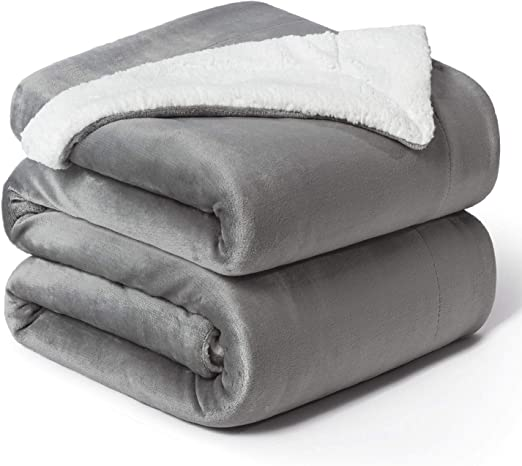 Bedsure Sherpa Bed Blanket Grey Queen size 90x90 Bedding Fleece Reversible Blanket for Bed and Couch Bedshe