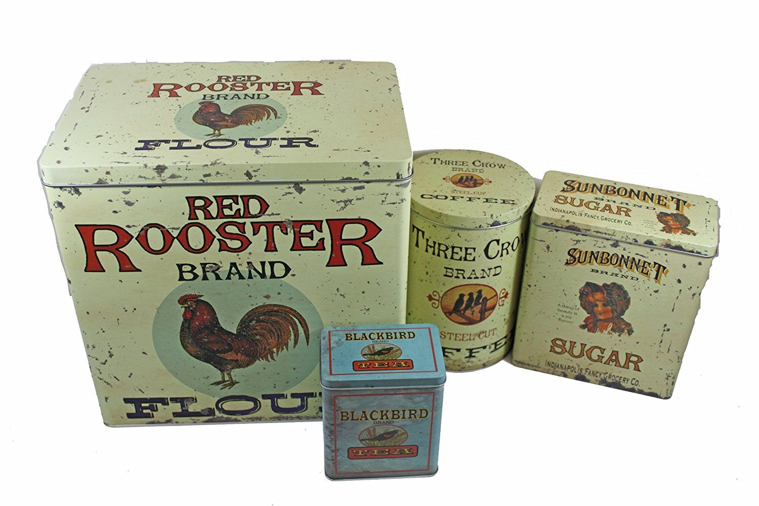 Vintage Style Advertising Food Canister Tins 4pc Set