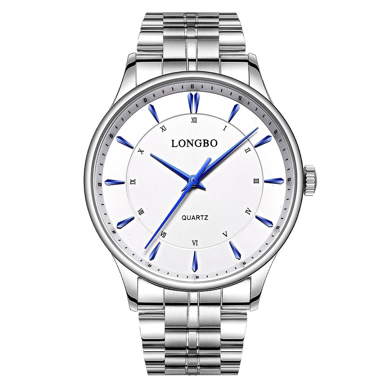 LONGBOローマ数字カップルメンズシルバーステンレススチールバンドアナログクォーツビジネス腕時計ドレスウォッチ防水ホワイトダイヤル腕時計for Man B01LZZLPR0