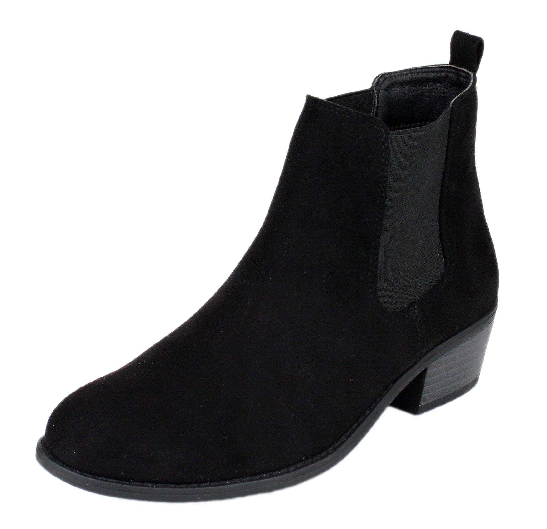 Refresh Women's Tildon-03 Low Heel Slip On Solid Ankle Boot,Black,6