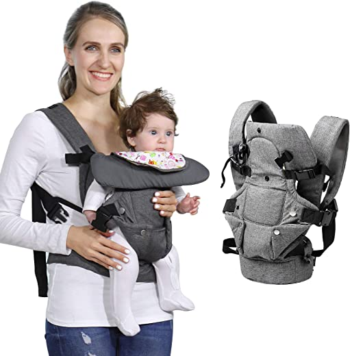 Baby Soft Carrier, 4-in-1 Ergonomic Convertible Carrier with Adjustable Straps and Breathable...