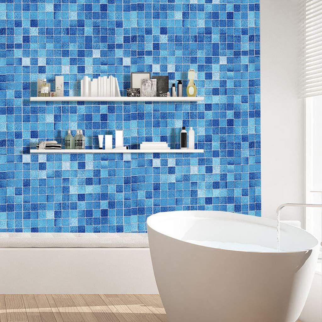 Amazon Com Iulove Kitchen Oil Proof Blue Square Wallpaper
