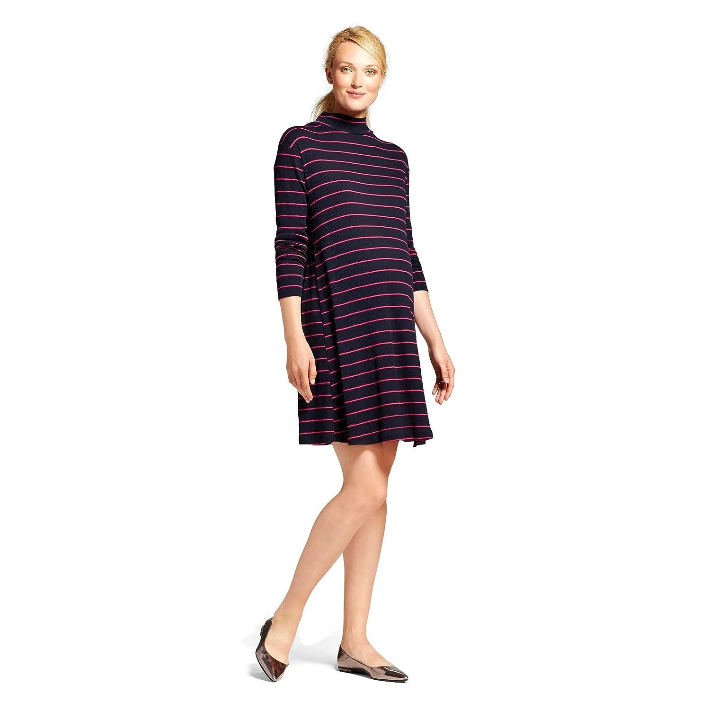 81dadaf81218b Liz Lange Maternity Long-Sleeve Swing Dress (Medium, Navy/Pink Stripe) at  Amazon Women's Clothing store: