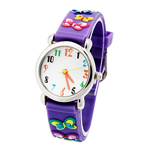 Vinmori Kid's Watch, with 3D Cartoon Butterfly Silicone Band Waterproof Quartz Watch Gift for Children(Purple)