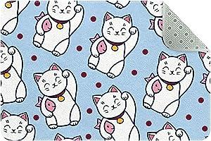 LORVIES Doormat Custom Indoor Welcome Door Mat, Maneki Neko Cat Home Decorative Entry Rug Garden/Kitchen/Bedroom Mat Non-Slip Rubber 24x16 Inch