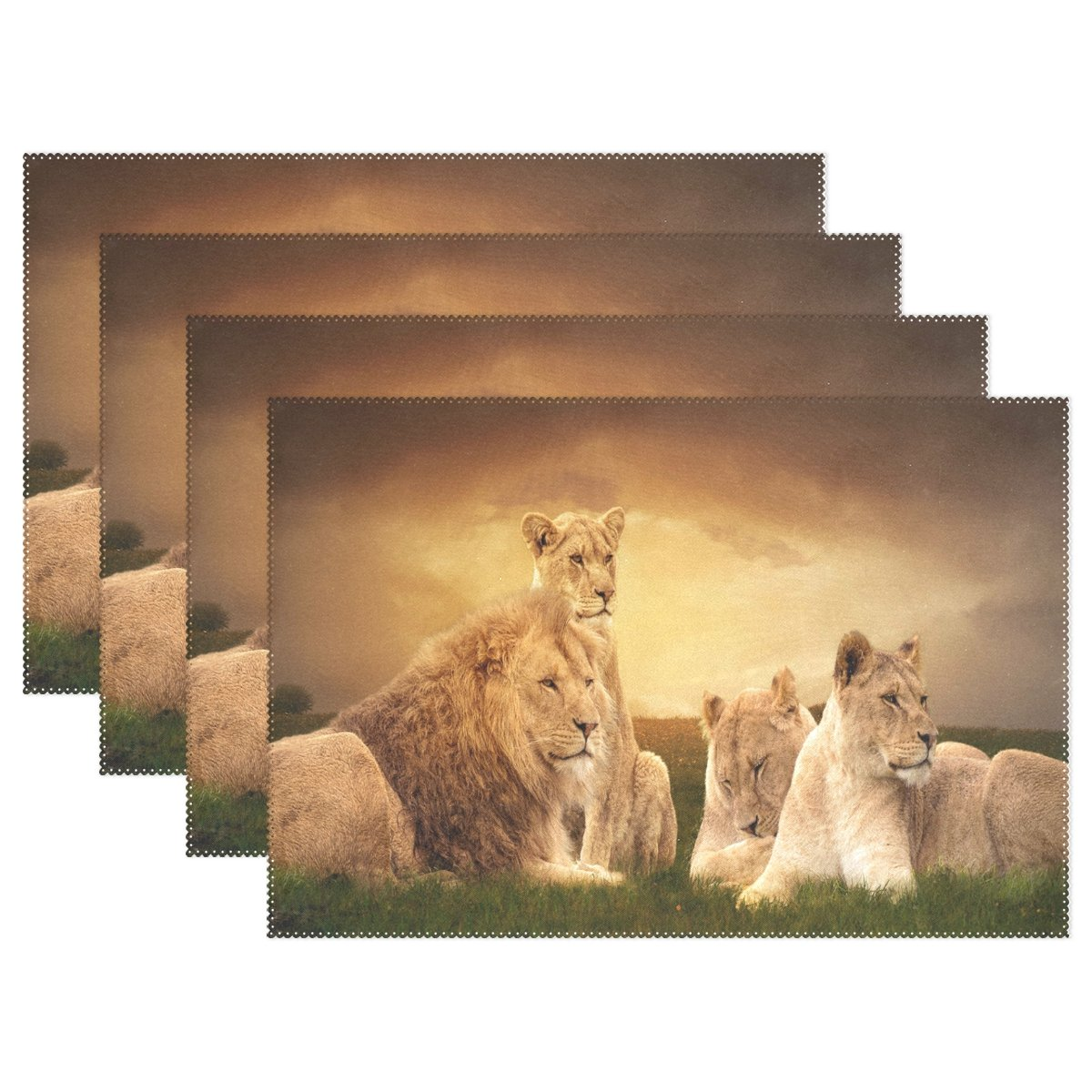 WOZO Animal African Lion Placemat Table Mat, Landscape Sunset 12'' x 18'' Polyester Table Place Mat for Kitchen Dining Room Set of 6 for Kids