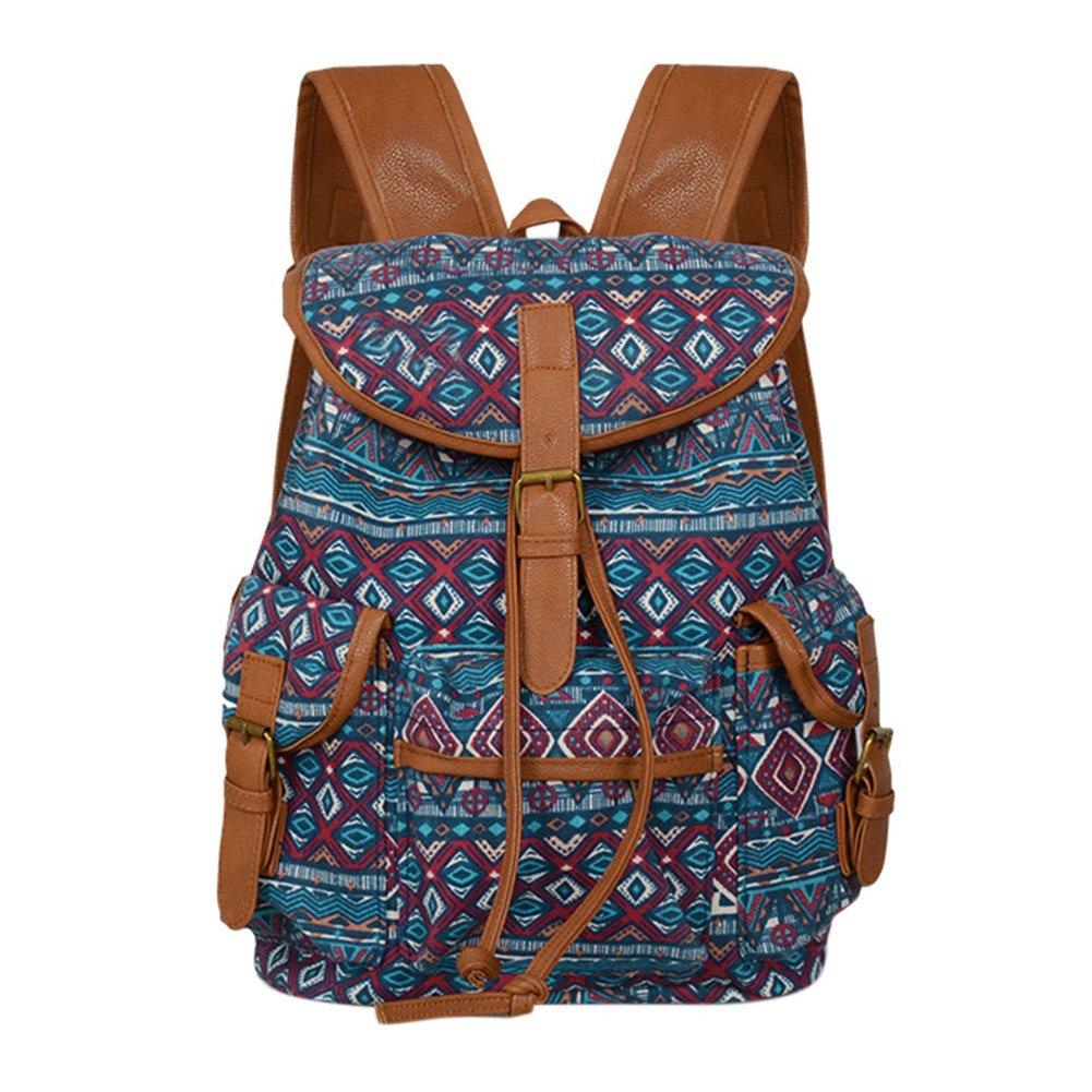 Women Rural Folk Pastoral Style Bag Canvas Backpack School Bag as Casual Travel Shoulder Bag