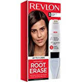 Revlon Root Erase Permanent Hair Color, Root Touchup Hair Dye, 100% Gray Coverage, 3 Black, 3.2 oz