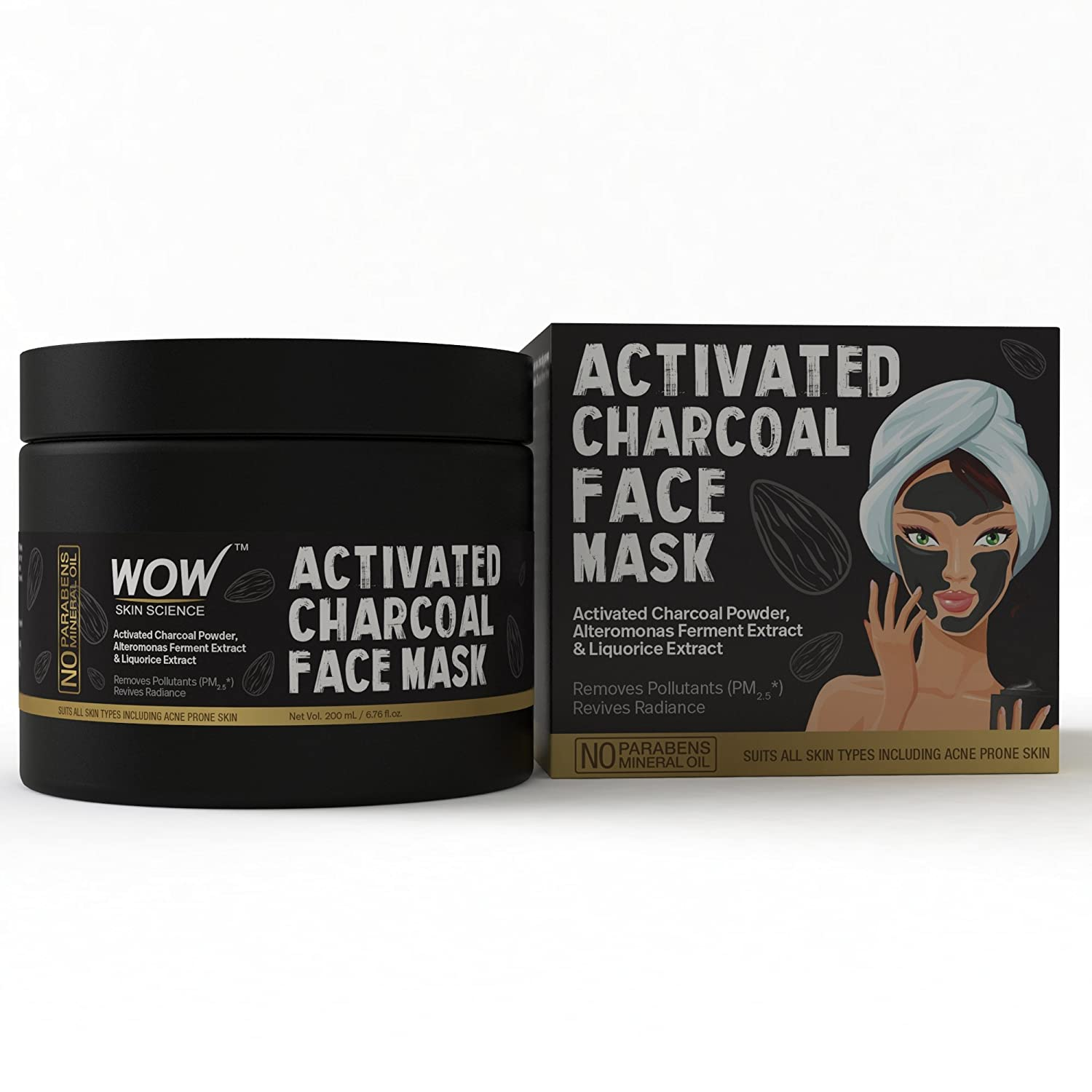 509171752 Buy WOW Activated Charcoal Face Mask with PM 2.5 Anti-Pollution Shield No  Parabens & Mineral Oil Wash Off Face Mask, 200mL Online at Low Prices in  India ...