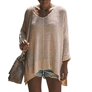 77ec93d640 Exlura Women s Off Shoulder Casual V Neck Sheer Loose Oversized Pullover  Sweater High Low Knitted Jumper