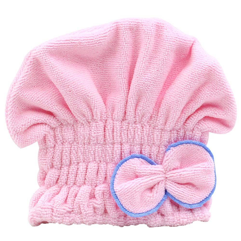 Cute Womens Coral Velvet Hair Drying Towel Wrap Bowknot Turban Hat for Bath Spa (Rose-Red) Phoenix B2C UK