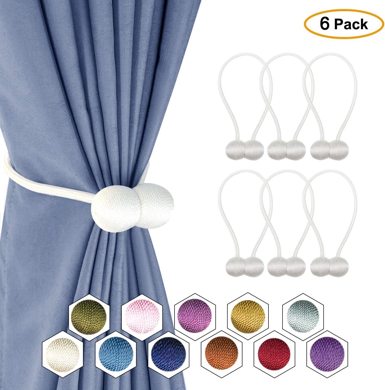DCLYSI 6 Pack Magnetic Curtain Tiebacks,16 Inch Decorative Curtain Holdbacks for Window D/écor
