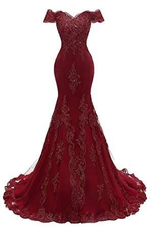 Womens V Neckline Off-Shouler Beaded Mermaid Evening Gowns Lace Prom Dresses