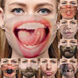 1PC Adult Washable Funny Laughing Out Loud Printed Face Bandanas - Breathable Anti-Dust Mouth Safety Guard Shield…