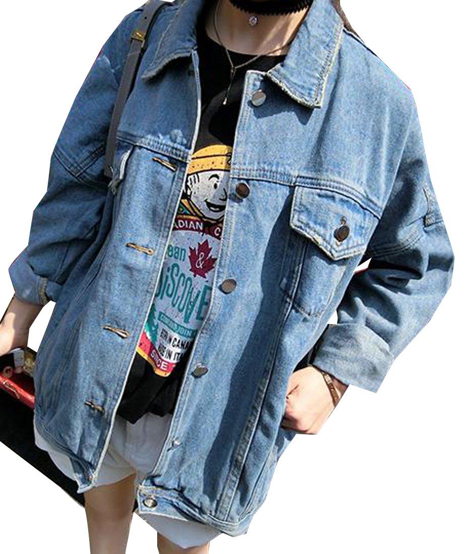 ARRIVE GUIDE Women's Casual Retro Washed Loose Fit Boyfriend Denim Jackets Light Blue Large