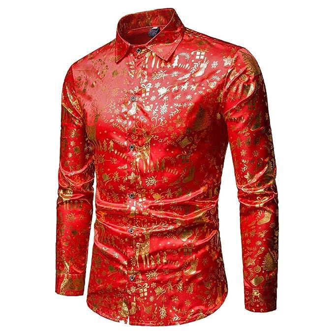 f5cb12e0b2a7d ... Camisetas Hombre Estampado de Moda Camisa de Navidad de Manga Larga  Blusa Superior Delgada Slim Fit Casual con Botón  Amazon.es  Ropa y  accesorios