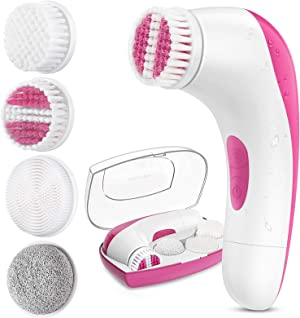 【2020 Upgraded】ETEREAUTY Facial Cleansing Brush, Waterproof Face Brush with 4 Brush Heads and a Protective Travel Case - Deep Cleansing, Gentle Exfoliating, Removing Blackhead for Face and Body, Pink