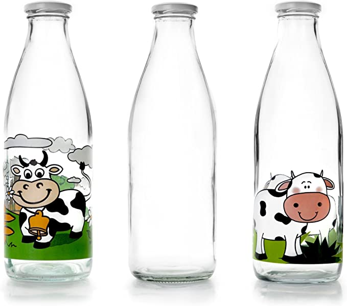 IBILI 743109 - Botella de Vidrio Transparente para la Leche, 900 ml, 8 x 8 x 27 cm: Amazon.es: Hogar