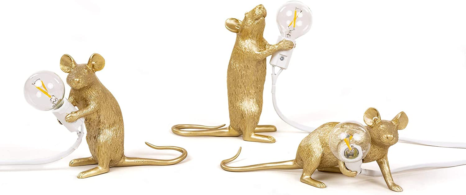 Seletti Mouse Lamp Gold Mac Sitting