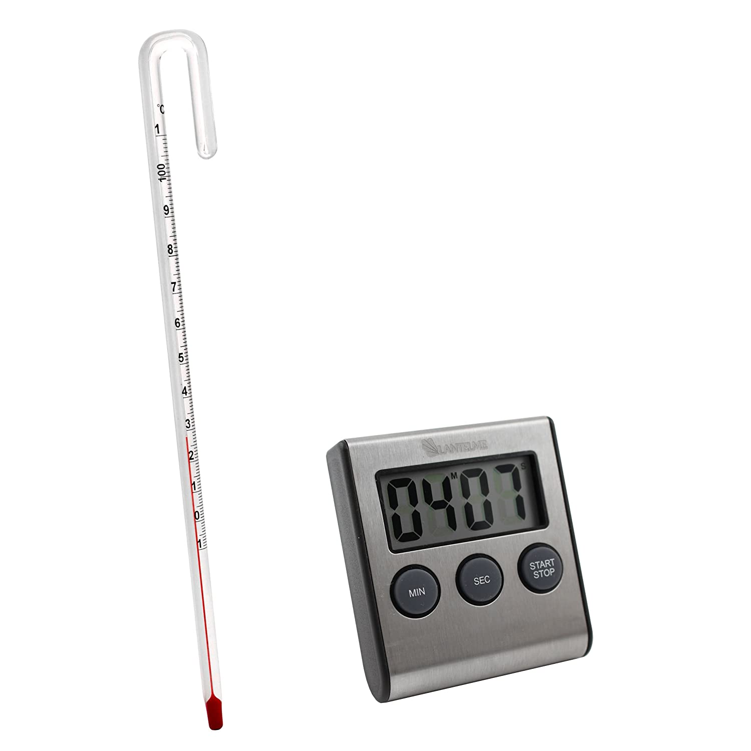 Lantelme 5950analogue tea thermometer and stainless steel digital timer set for perfect tea