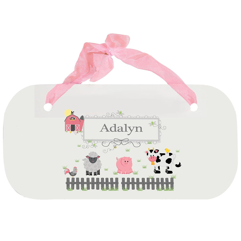 Personalized Barnyard Friends Nursery Door Hanger Plaque with pink ribbon MyBambino