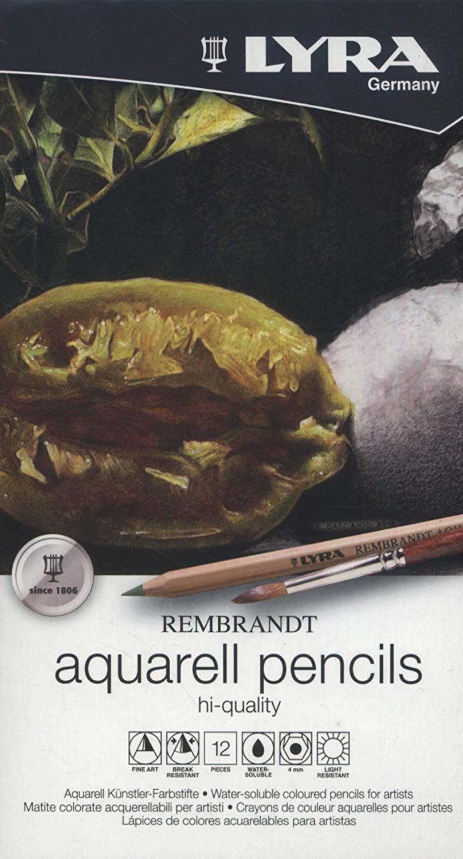couleurs assorties Lyra Coffret m/étal de 12 crayons de couleur aquarellables Rembrandt