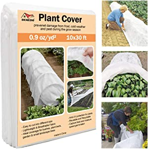 DEMEDO Plant Covers Protection, 10 ft x 30 ft Floating Row Cover for Crop, Blanket for Vegetables & Plants, Garden Fabric Plant Cover for Preventing Cold Weather, Winter Frost Freeze and Animal