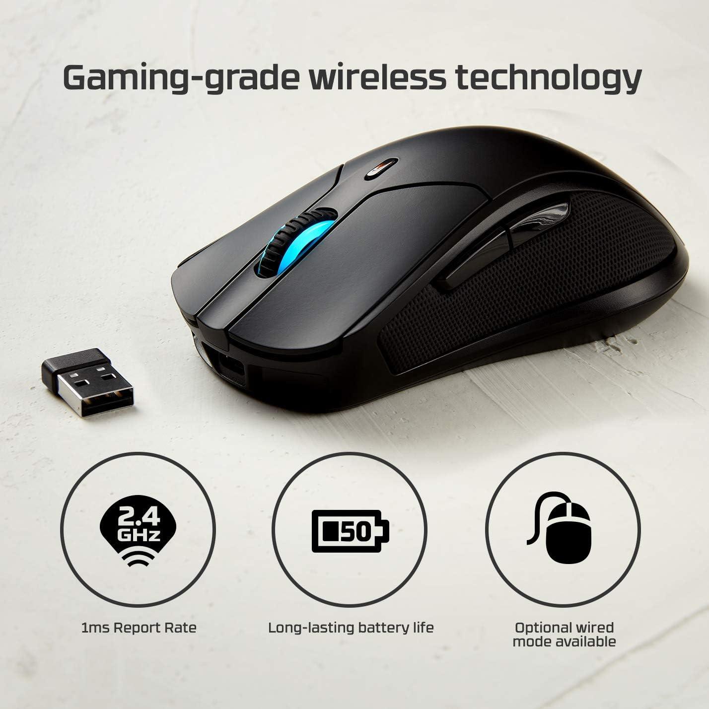 HyperX HX-MC006B Pulsefire Dart Mouse Gaming RGB Wireless, Software per la Personalizzazione, 6 Tasti Programmabili, Batteria Ricaricabile Qi fino a 50 ore, Compatibile con PC, PS4, Xbox One
